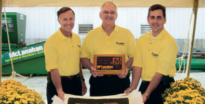 George Sidney, left, celebrated the 170th anniversary of McLanahan Corp. alongside Michael McLanahan, center, and Sean McLanahan back in 2005. Photo courtesy of McLanahan Corp.